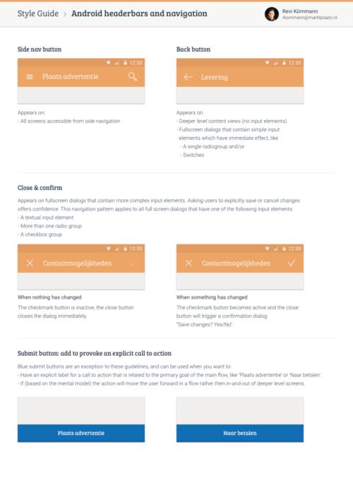 Android header bars and navigation